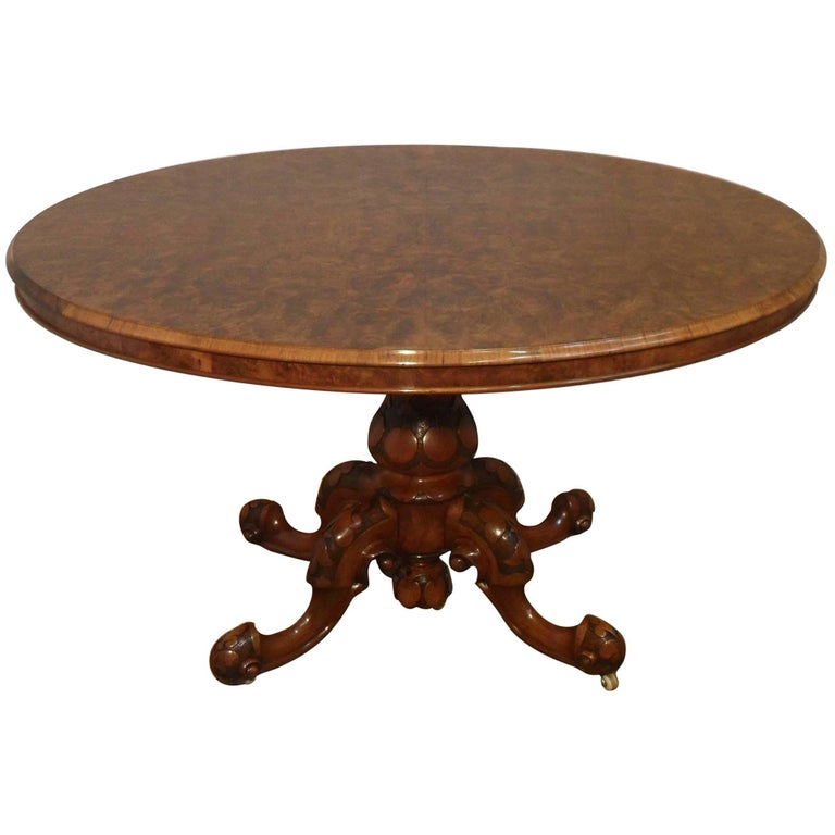 English Victorian Walnut Loo Centre Table