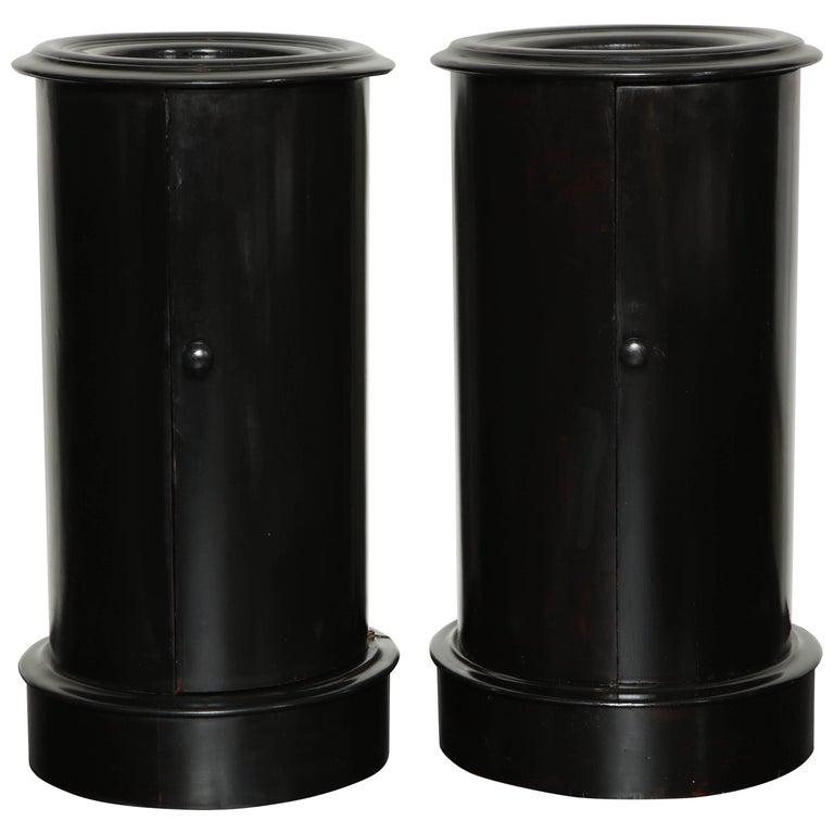 Pair of Ebonized Mahogany Cylinder Pedestal Cabinets, English, circa 1880