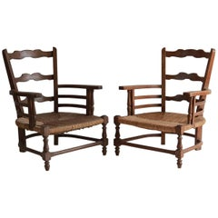Pair of Low French Farmhouse Chairs with Woven Rush Seat