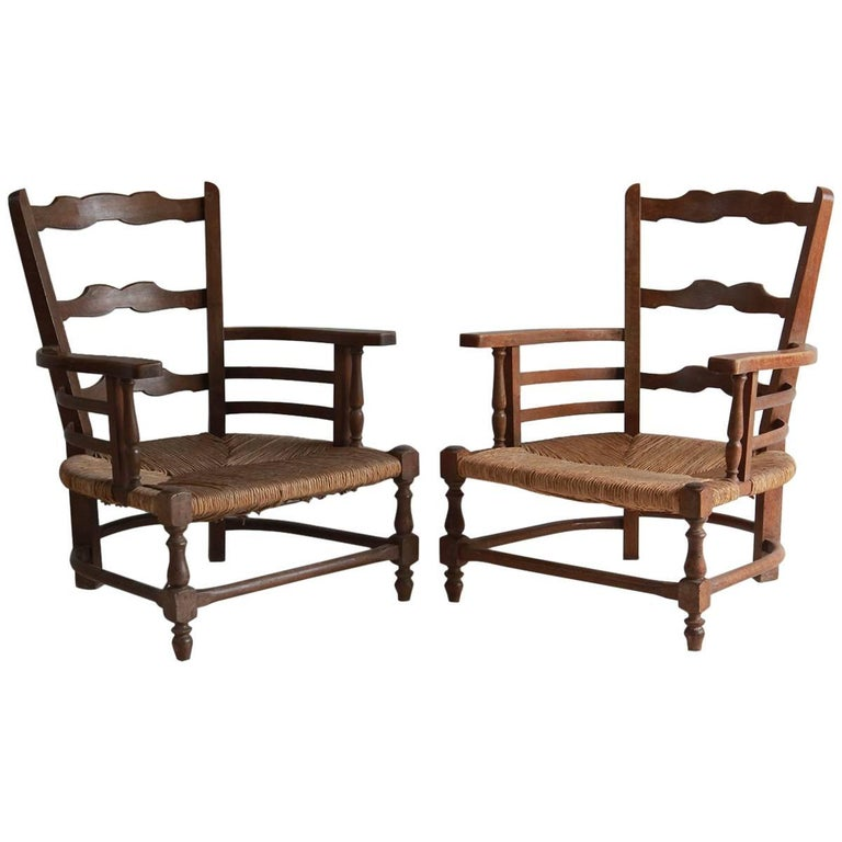 Pair of Low French Farmhouse Chairs with Woven Rush Seat For Sale