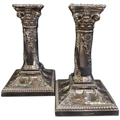 Pair of Silver Candlesticks by Walker and Hall