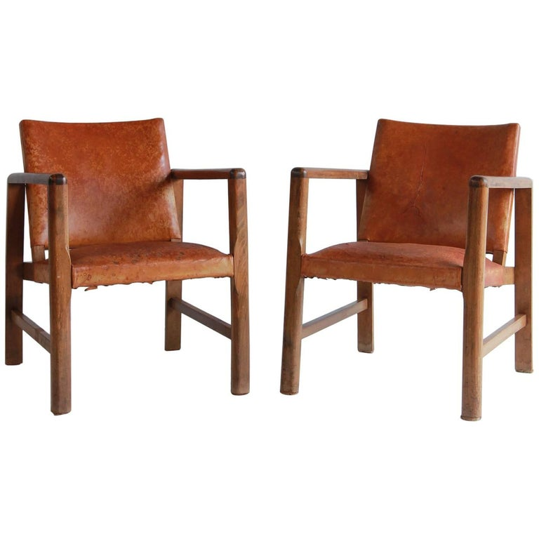 Pair of Borge Mogensen Style Leather and Wood Chairs For Sale