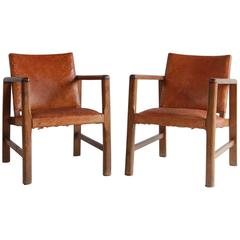 Pair of Borge Mogensen Style Leather and Wood Chairs