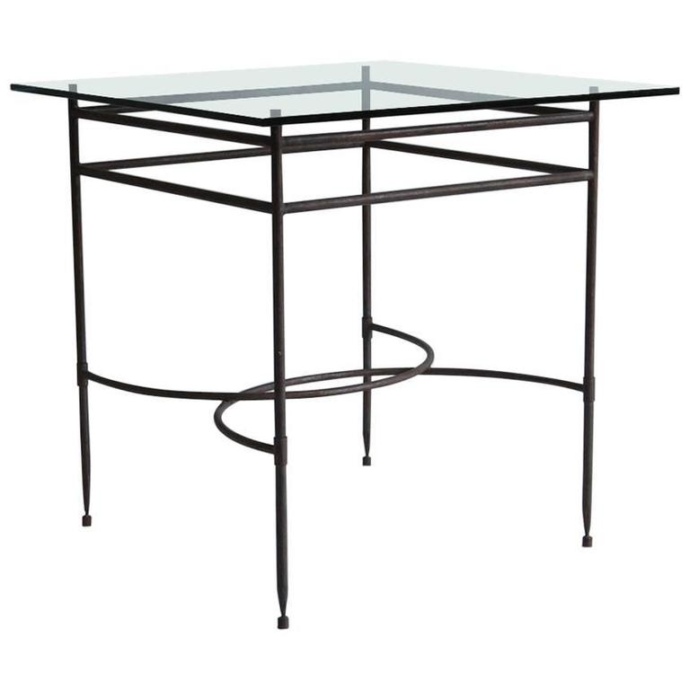 Tall Iron and Glass Table For Sale