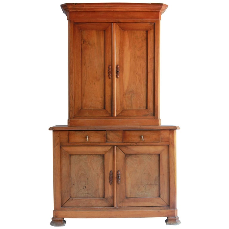 Large Two-Piece Elmwood Linen Press Hutch with Fully Lined Interior For Sale