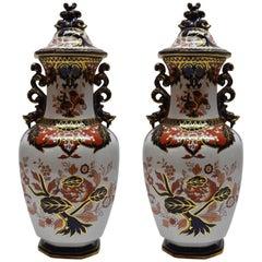 Pair of Antique English Ironstone Urns