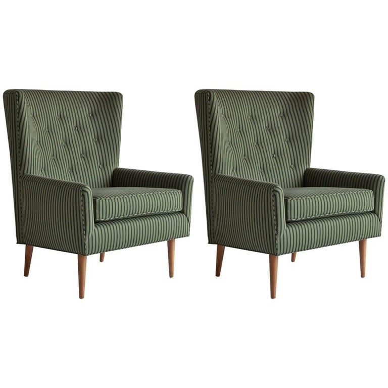 Pair of French Armchairs Upholstered Striped Green and Black Howe Fabric 1