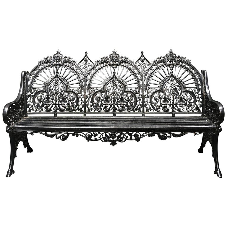 Original Coalbrookdale Cast Iron Garden Bench, 1853 For Sale