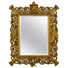 Antique Baronial Carved Wood Gold Mirror
