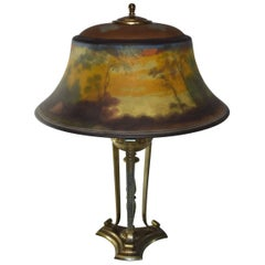 Pairpoint Reverse Painted Landscape Table Lamp Exeter Shade L.H. Gorham