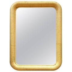 Karl Springer Style Palm Regency Style Raffia Mirror