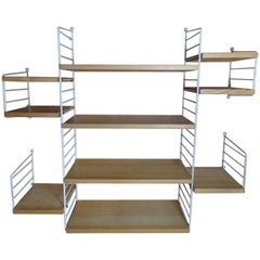 Large Wall Shelving Unit by Nisse Strinning for String, 1960s