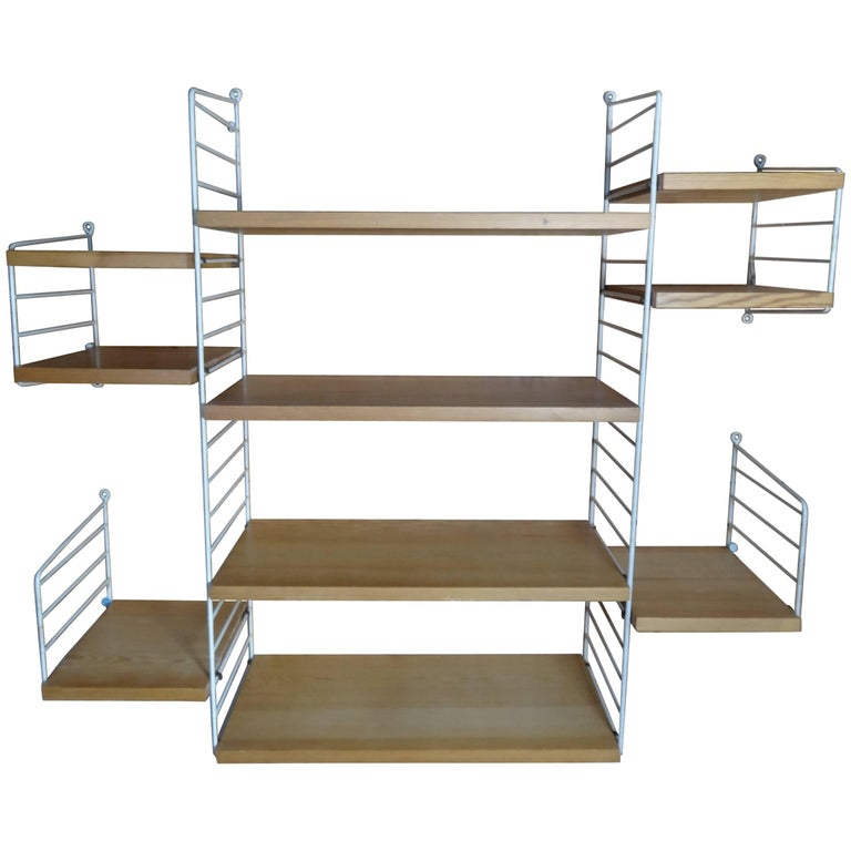 Large Wall Shelving Unit by Nisse Strinning for String, 1960s For Sale