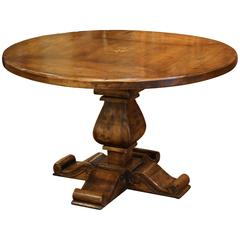 Louis XIII French Style Walnut Round Pedestal Table with Centre Inlay Star