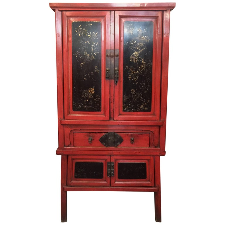 Chinese Qing Dynasty Red Lacquer Cabinet