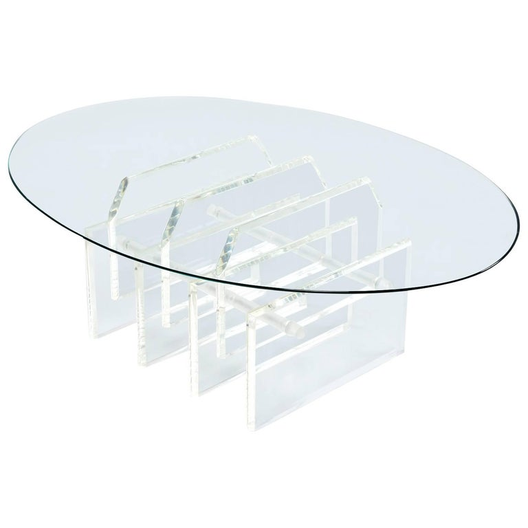 Charles Hollis Style Staggered Lucite Acrylic Coffee Table Base w/ Glass, 1970s