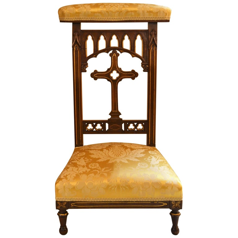 Antique French Walnut Prie Dieu Prayer Chair For Sale At