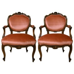 Pair of Antique French Sculpted Walnut Armchairs