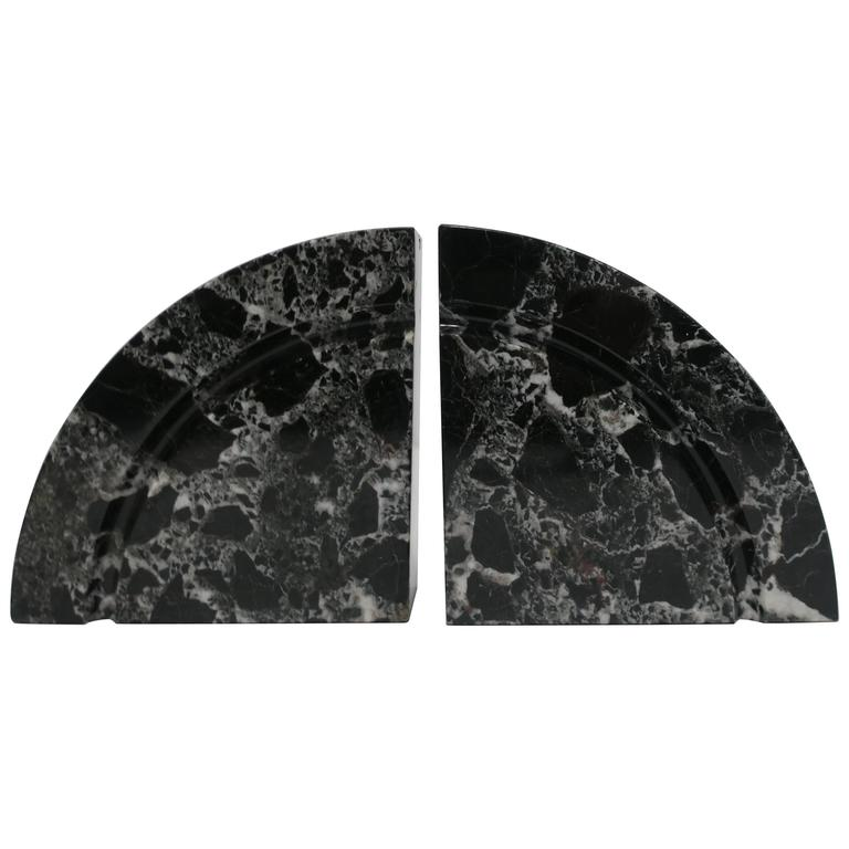 Pair Modern Black and White Marble Bookends, ca. 1970s For Sale
