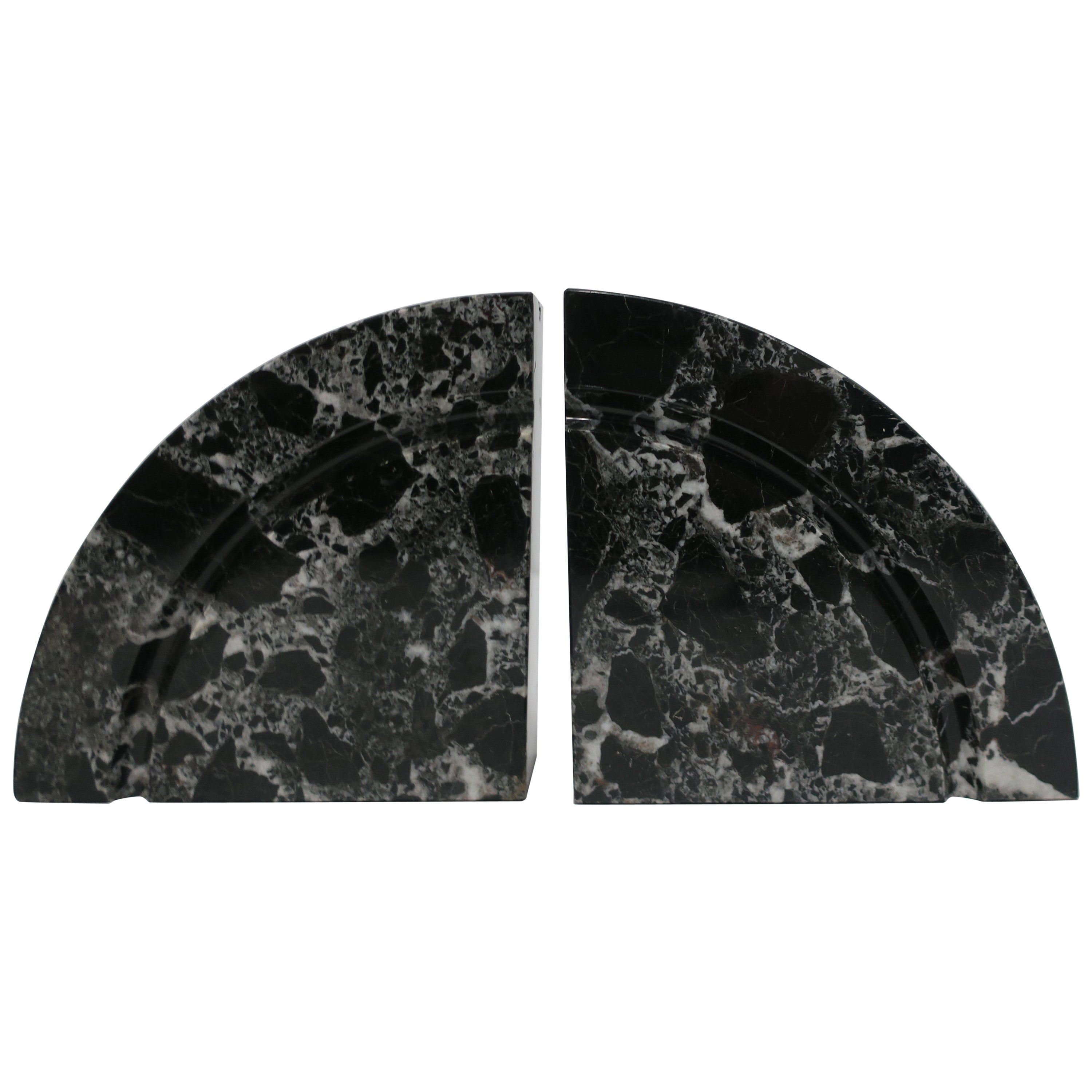 Pair Modern Black and White Marble Bookends, ca. 1970s