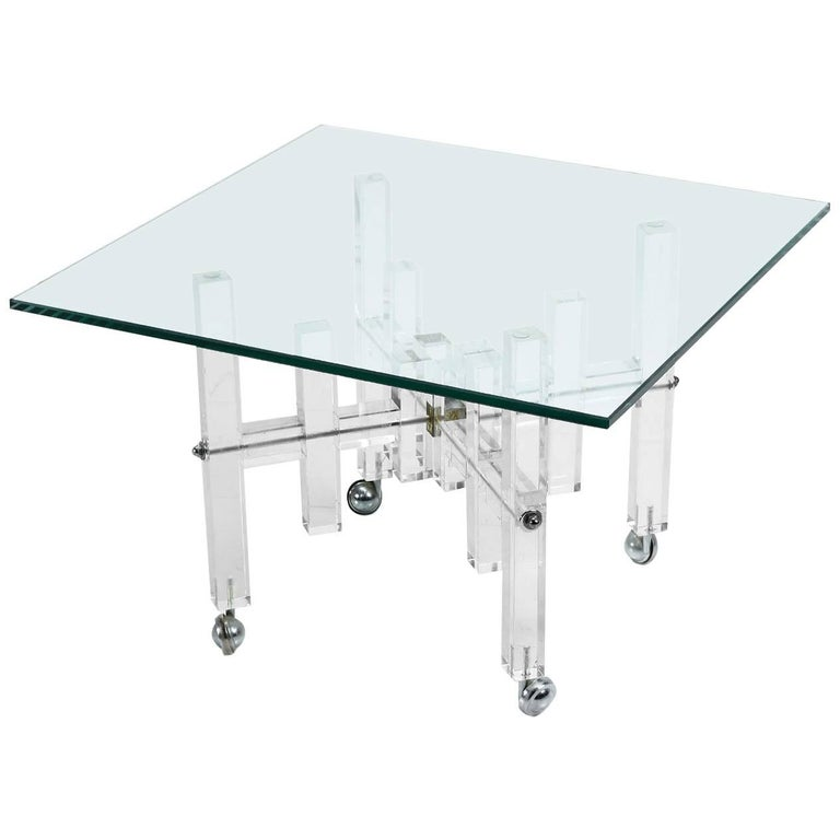 Charles Hollis Style Lucite Acrylic and Glass Occasional End Table on Casters