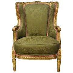 Antique French Gold Bergère in the Style of Louis XVI