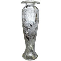 "Early 20th Century Signed ""Libbey"" Hand Engraved Intaglio Cut-Glass Vase"