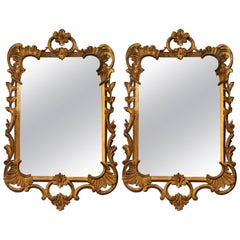 Pair of Antique Carved Wood Gold Mirrors