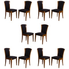 Dominique, Set of Ten Dining Chairs, France, circa 1928