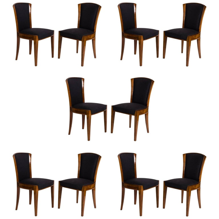 Dominique, Set of Ten Dining Chairs, France, circa 1928 1