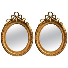 Pair of Antique French Louis XVI Oval Mirrors