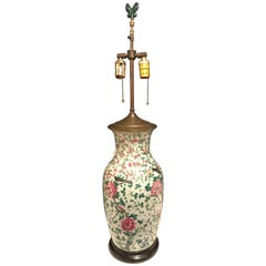 Chinese Large Jar Decorated with Bird and Roses Mounted as a Lamp