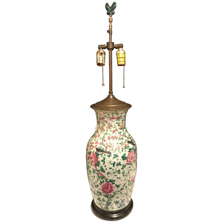 Chinese Imperial Yellow Large Table Lamp With Pheasant