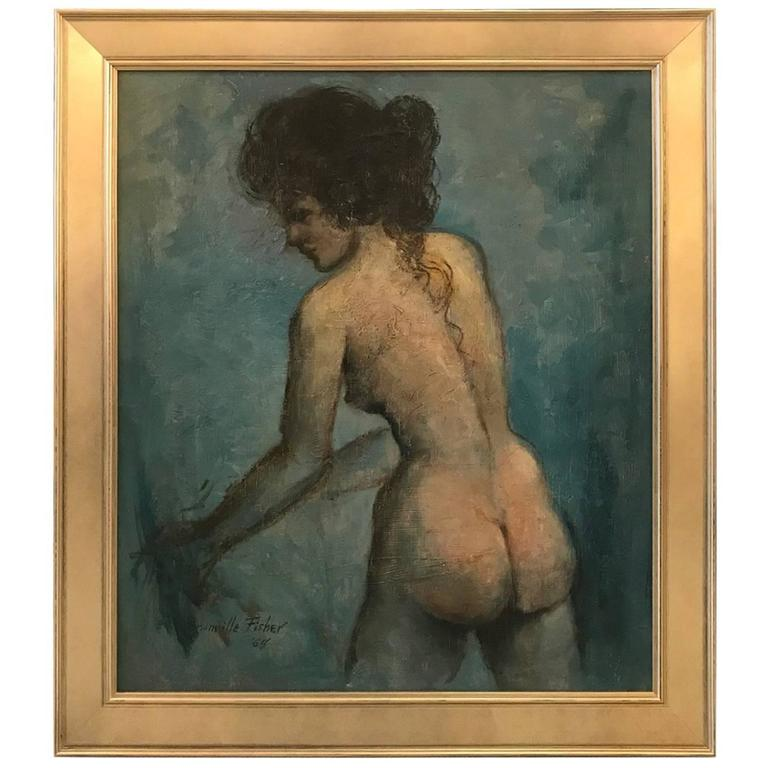 Mid-20th Century Oil Painting on Board Nude For Sale