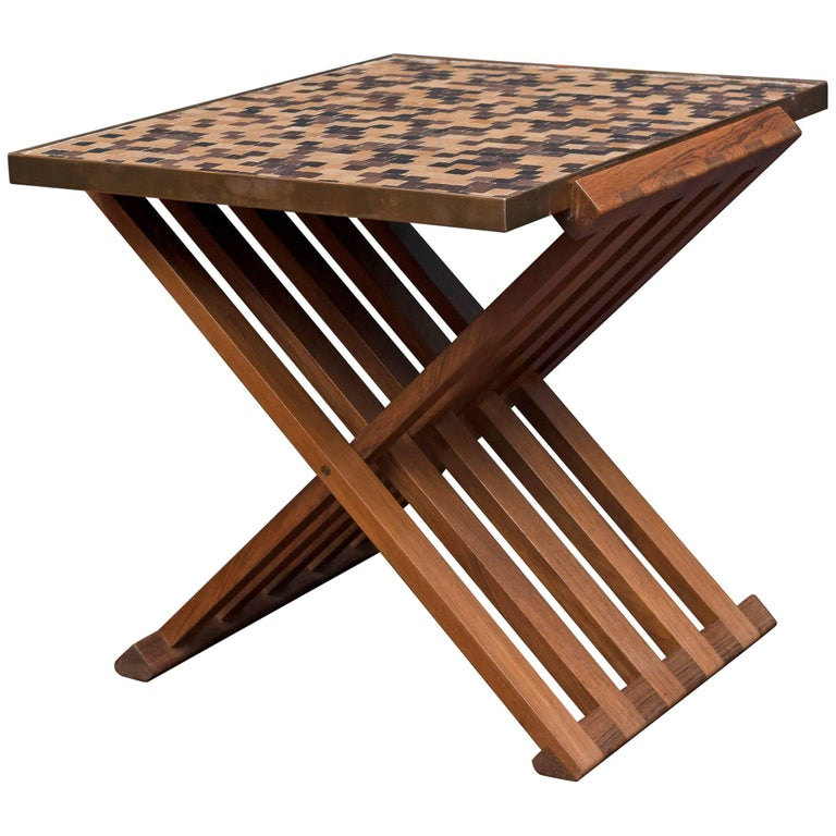 X Base Side Table X Base Walnut Side Table At 1stdibs
