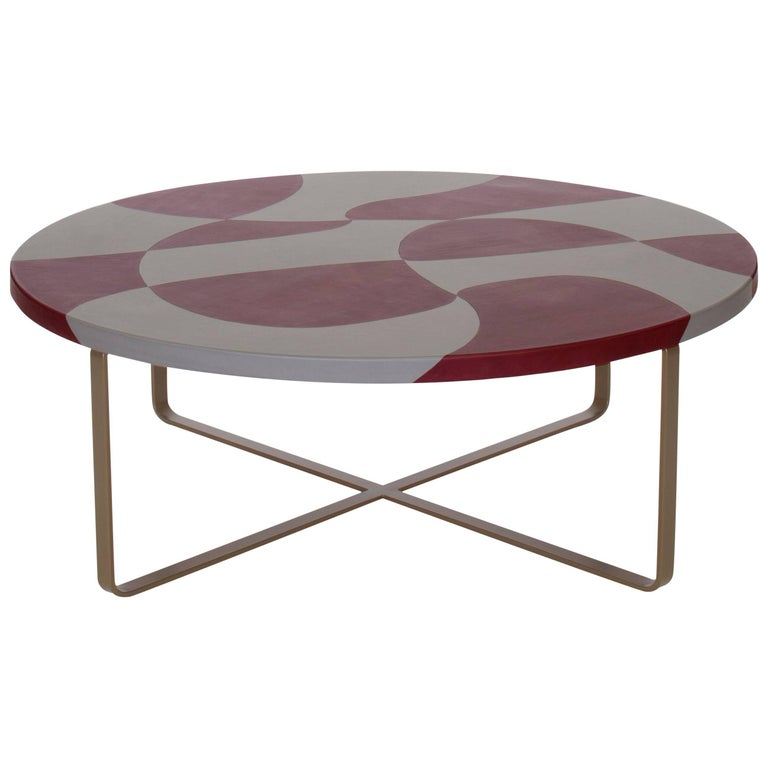 """Maupiti"" Inlaid Leather Top Coffee Table by Nestor Perkal for Oscar Maschera"