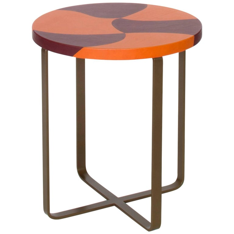 """""""Tiger"""" Inlaid Leather Top Side Table by Nestor Perkal for Oscar Maschera"""