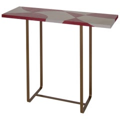 """Flores"" Inlaid Leather Top Console Table by Nestor Perkal for Oscar Maschera"