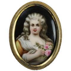 Antique Miniature KPM Style Hand-Painted Porcelain Portrait, J. Wanamaker