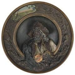 Musterschutz High Relief Pottery Portrait After Louis Gallait, circa 1880