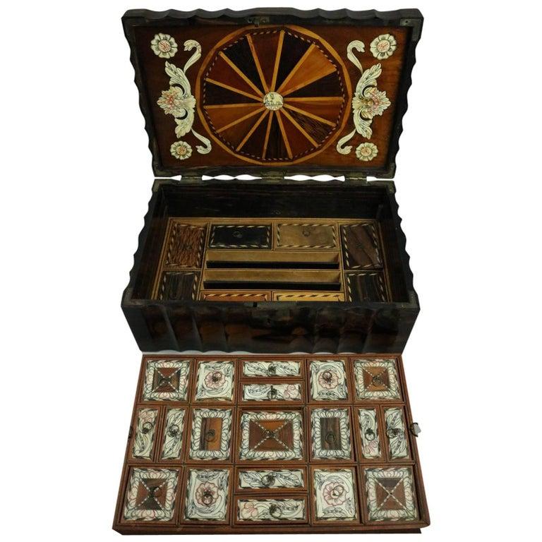 Bone Inlaid Coromandel Wood Anglo Indian Locking Sewing Box, 19th Century