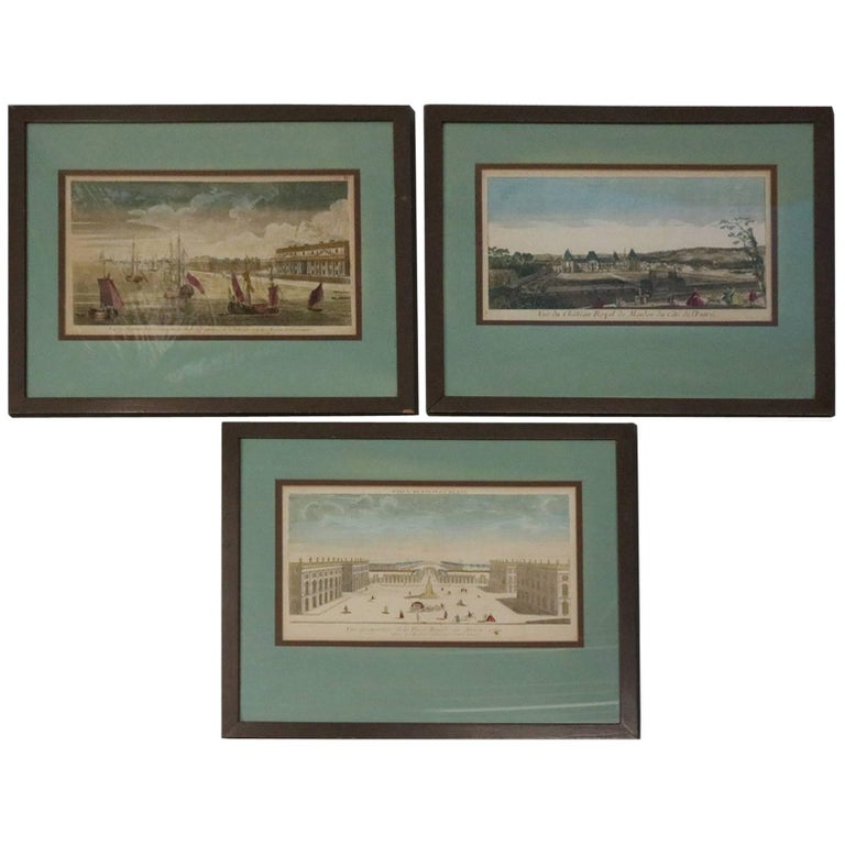"""Set of Three French Hand Tinted Etchings """"Maritime, Palace and Courtyard Scenes"""" For Sale"""