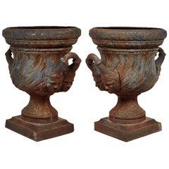 Ein Paar Eiserne Gartenurnen, 19. Jahrhundert