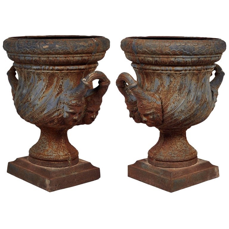 19th Century Pair of Iron Garden Urns For Sale