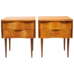 Exceptional Pair of Edmond Spence Wave Front Side Tables, circa 1955
