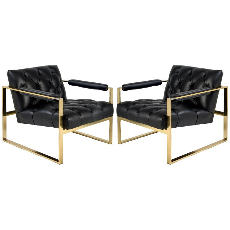 Pair of 1970s Flat Bar Milo Baughman Chairs For Sale