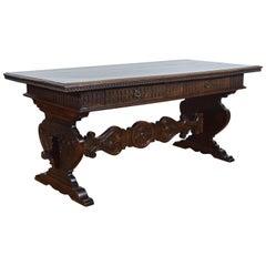 Italian Renaissance Revival Walnut Two Drawer Desk or Sofa Table, 19th Century