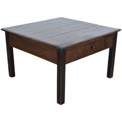 French Stained and Ebonized Pinewood One Drawer Coffee Table, circa 1900