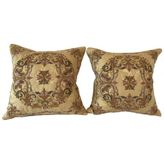 Gorgeous Designer Embroidered Pair of Gold Throw Pillows