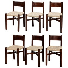 Set of Six Charlotte Perriand Meribel Chair, circa 1950